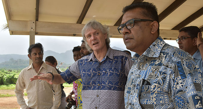 Fiji National University Labasa Campus vice-chancellor Nigel Healey (middle), with Permanent Secretary in the Office of the Prime Minister, Immigration and Sugar Industry Yogesh Karan (right), on July 12, 2019. Photo: Shratika Naidu