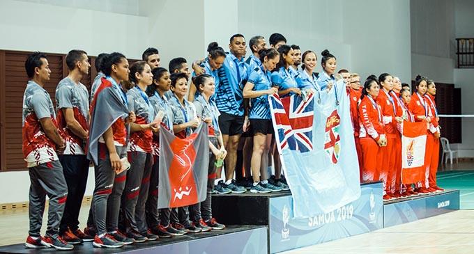Badmington team medal presentation. PHOTO: Badmington Oceania