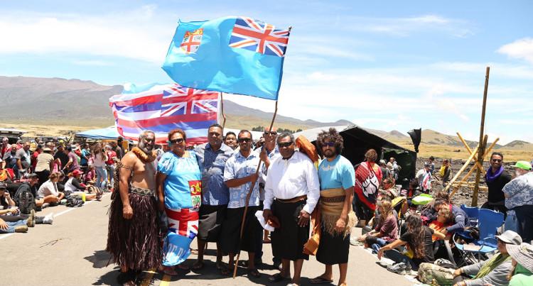 Fijian Delegation Visit Mauna Kea Protesters