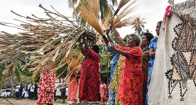 The women of Sawaieke in Gau welcome the Prime Minister Voreqe Bainimarama and his delegation on July 31, 2019.  Photo: DEPTFO News