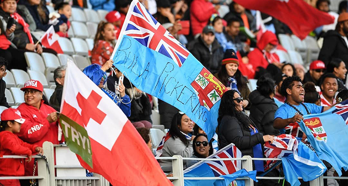 Fiji and Tonga rugby fans at Eden Park. Photo: PhotosportNZ