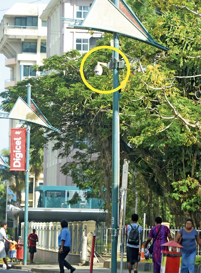 The CCTV camera outside Suva City Library along Victoria Parade. Photo: Ronald Kumar