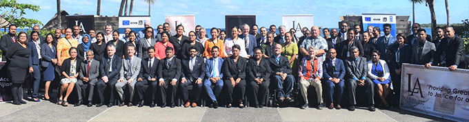 The Attorney-General Aiyaz Sayed-Khaiyum (front row, 7th from left) with participants at the InterContinental Fiji Golf Resort and Spa in Natadola on August 21, 2019. Photo: Nicolette Chambers