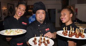 Clooney's Resturant and Bar staff, Asenaca Baleikatuba (left), Bryan Uy and Seteri Uluibua during the resturant soft opening at Victoria Parade in Suva on August 17, 2019.  Photo: Ronald Kumar