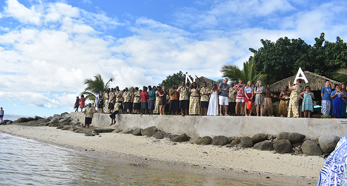Guests and staff at Nanuya Island Resort in Yasawa Group.