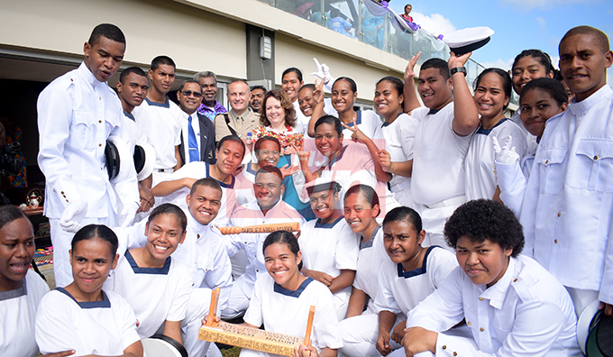 British High Commissioner to Fiji Melanie Hopkins with students of Dudley High School during Navy Cadet Passing out Parade at Albert Park in Suva on August 9, 2019. Photo: Ronald Kumar.