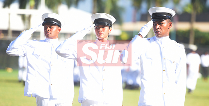 Dudley High School Navy Cadet Passing out parade parade commanders, (from left) Sakiusa Siqila, Losevati Waqavatoga and Saiyasi Nabou at Albert Park in Suva on August 9, 2019. Photo: Ronald Kumar.