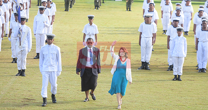 British High Commissioner to Fiji Melanie Hopkins during the Dudley High School Navy Cadet Passing out parade at Albert Park in Suva on August 9, 2019. Photo: Ronald Kumar.