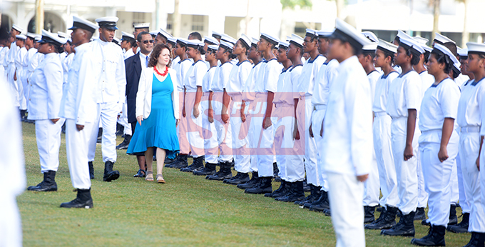 Dudley High School Navy Cadet Passing out Parade Commander Saiyasi Nabou (left) assist Chief Guest British High Commissioner to Fiji Melanie Hopkins in inspecting the parade at Albert Park in Suva on August 9, 2019. Photo: Ronald Kumar.