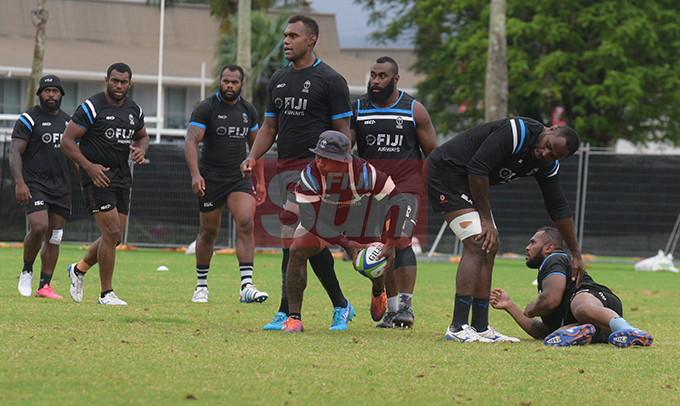 The Flying Fijians team during a training session at Albert park Suva on August 5,2019.Photo:Simione Haravanua.