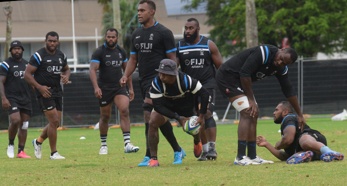 Fiji Airways Flying Fijians (left-right) Levani Botia, Nemani Nagusa, Peceli Yato, Leone Nakarawa, Serupepeli Vularika (with ball), Peni Ravai, Api Ratuniyarawa, Sevanaia Galala during training at Albert Park, Suva on August 5, 2019. Photo: Simione Haravanua