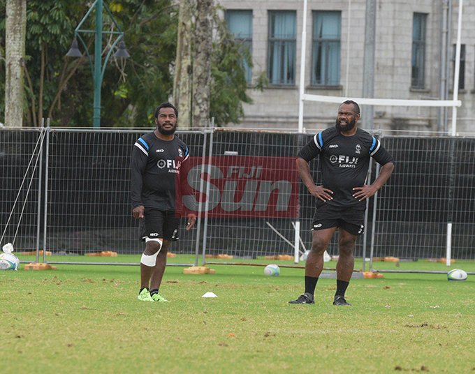 Flying Fijians players Setareki Tuicuvu and Vereniki Goneva during a training session at Albert park Suva on August 5,2019.Photo:Simione Haravanua.