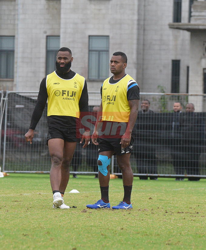 Flying Fijians players Semi Radradra and Kini Murimurivalu during a training session at Albert park Suva on August 5,2019.Photo:Simione Haravanua.