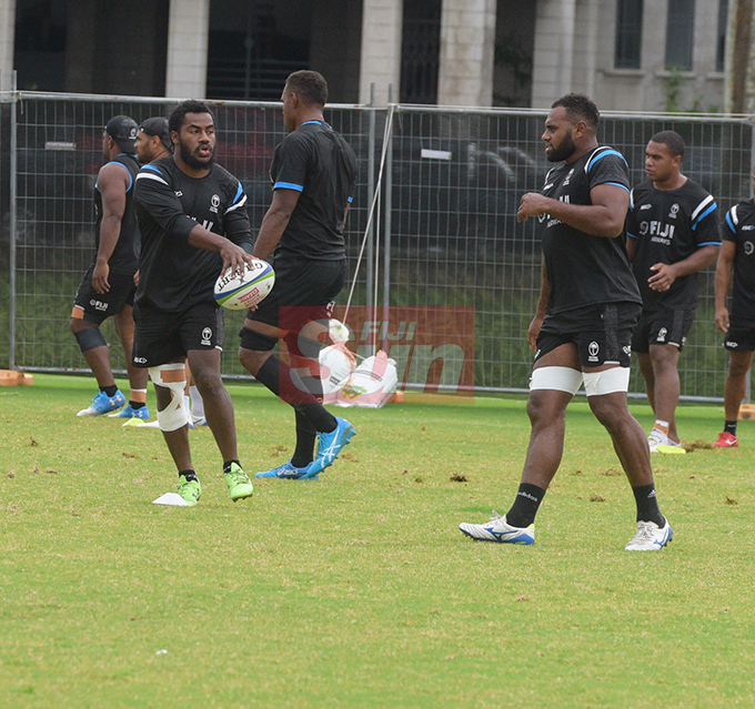 Flying Fijians players Setareki Tuicuvu and Semi Kunatani training at Albert park Suva on August 5,2019.Photo:Simione Haravanua.