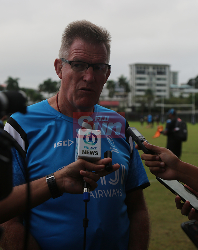 Flying Fijians head coach John Mckey during a training session at Albert park Suva on August 5,2019.Photo:Simione Haravanua.