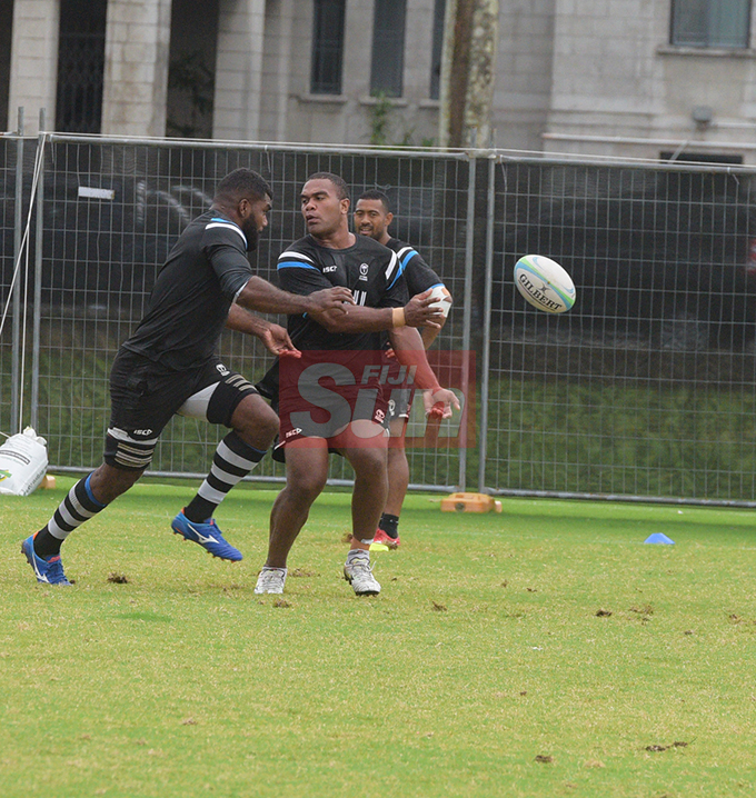 Flying Fijians player Johnny Dyer flicks a pass during training at Albert park Suva on August 5,2019.Photo:Simione Haravanua.