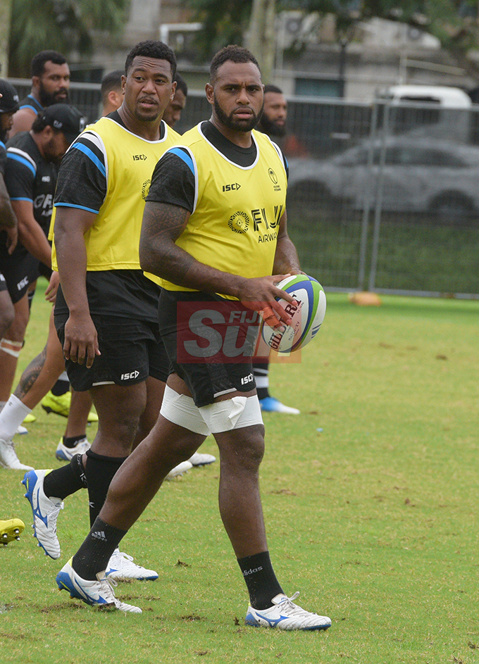 Flying Fijians players Eroni Mawi and Semi Kunatani during a training session at Albert park Suva on August 5,2019.Photo:Simione Haravanua.