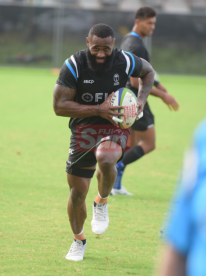 Fiji Airways Flying Fijian rep, Semi Radradra during training at Albert Park on August 6, 2019. Photo: Ronald Kumar.