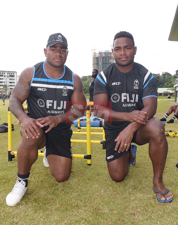 Brother's Josua Tuisova (left) and Filipo Nakosi are both named in the 31 member Fiji Airways Flying Fijians extended World Cup squad at Albert Park on August 16, 2019. Photo: Ronald Kumar.