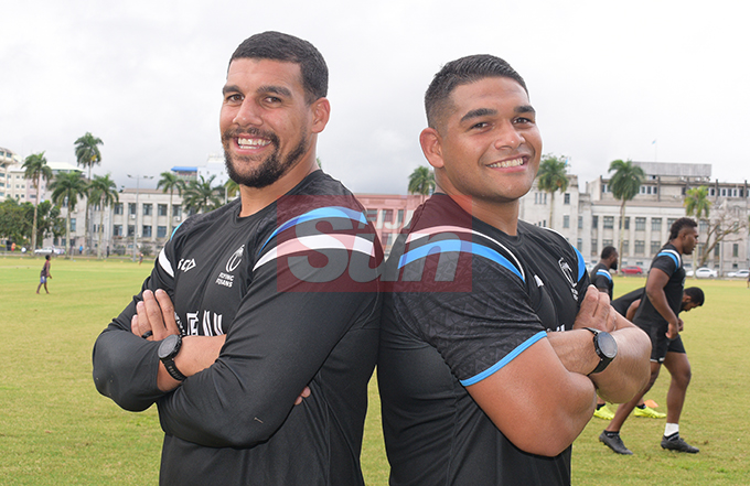 Matavesi brother's Josh Matavesi (left) and Samuel Matavesi are both named in the 31 member Fiji Airways Flying Fijians extended World Cup squad at Albert Park on August 16, 2019. Photo: Ronald Kumar.