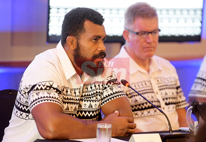 Fiji Airways Flying Fijians Captain, Dominiko Waqaniburotu (left) and Heah Coach John McKee during the naming at Grand Pacific Hotel on August 16, 2019. Photo: Ronald Kumar.
