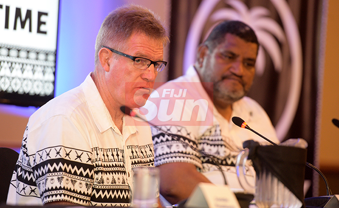 Fiji Airways Flying Fijians Head Coach, John McKee (left) and Fiji Rugby CEO John O'Connor during the naming at Grand Pacific Hotel on August 16, 2019. Photo: Ronald Kumar.