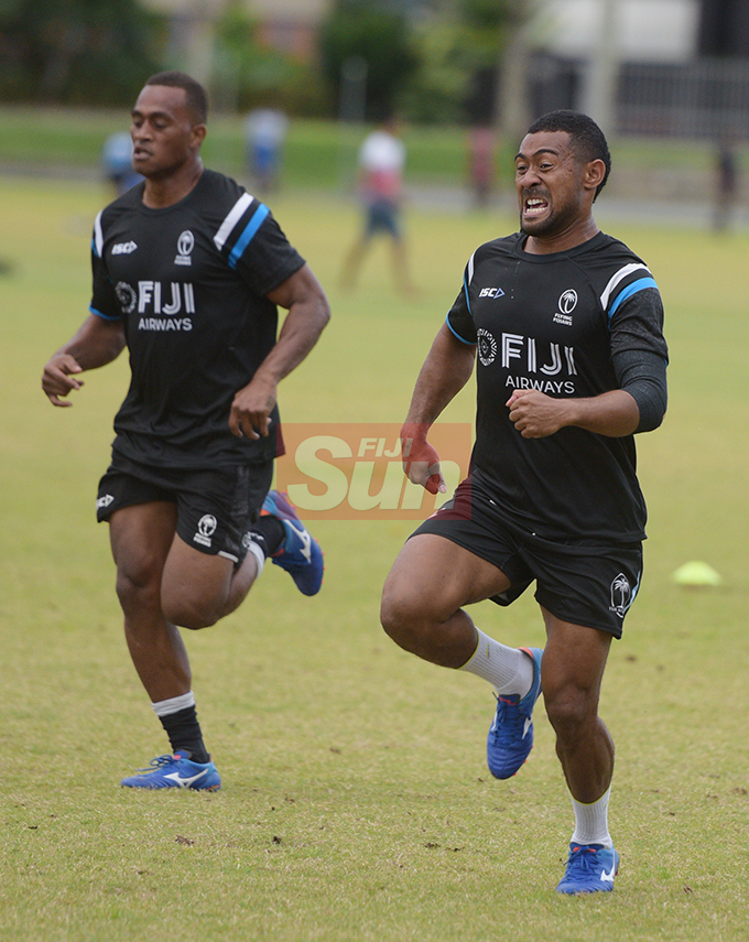 Alivereti Veitokani (left) and Henry Seniloli during Fiji Airways Flying Fijians during training at Albert Park on August 16, 2019. Photo: Ronald Kumar.