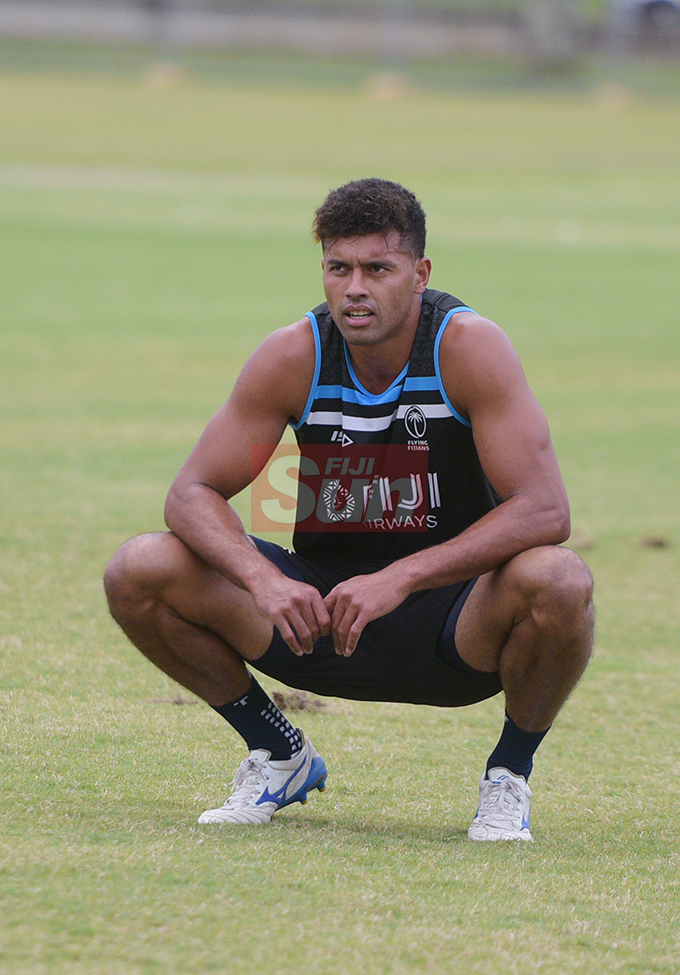 Ben Volavola during Fiji Airways Flying Fijians during training at Albert Park on August 16, 2019. Photo: Ronald Kumar.