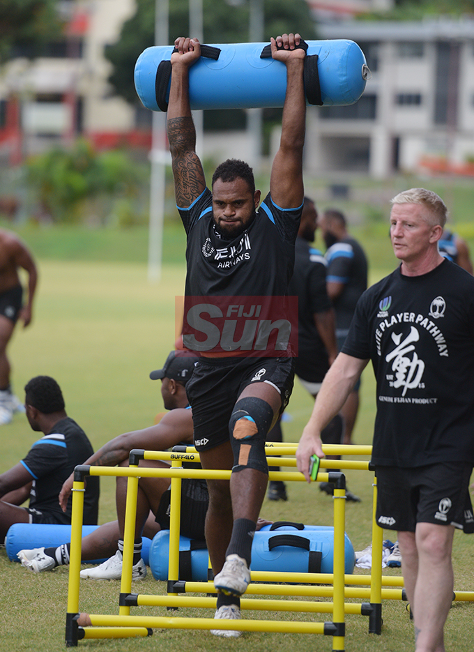 Semi Kunatani during Fiji Airways Flying Fijians training at Albert Park on August 16, 2019. Photo: Ronald Kumar.