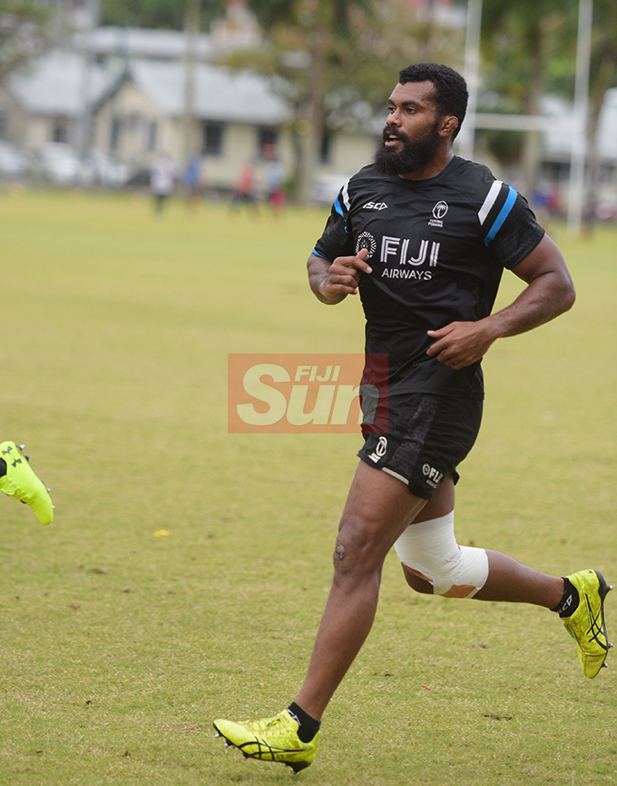 Fiji Airways Flying Fijians captain, Dominiko Waqaniburotu during training at Albert Park on August 16, 2019. Photo: Ronald Kumar.