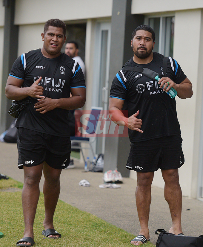 Fiji Airways Flying Fijians 32 member extended World Cup squad players , Tuvere Vugakoto (left) and Campese Ma'afu at Albert Park on August 16, 2019. Photo: Ronald Kumar.