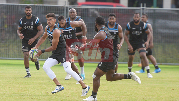 Ben Volavola (with ball) during Fiji Airways Flying Fijian Captains runs at Albert Park on August 9, 2019. Photo: Ronald Kumar.