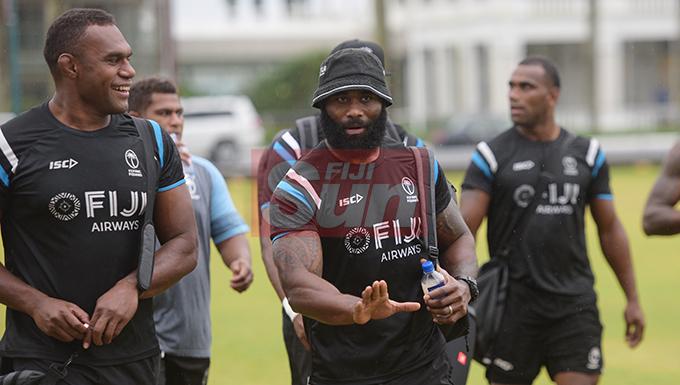 Flying Fijians reps Leone Nakarawa and Semi Radradra u at Albert park on August 20, 2019. Photo: Ronald Kumar.