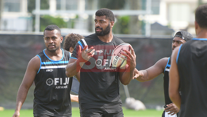 Tevita Ratuva (with ball) during Fiji Airways Flying Fijian Captains runs at Albert Park on August 9, 2019. Photo: Ronald Kumar.