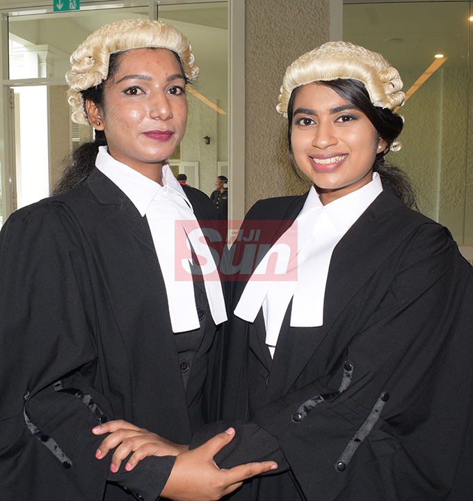 Friends Safia Ahmed (left) and Bhavishna Pillay following their Admission to the Bar by Acting Chief Justice Kamal Kumar at Grand Pacific Hotel on August 16, 2019. Photo: Ronald Kumar.