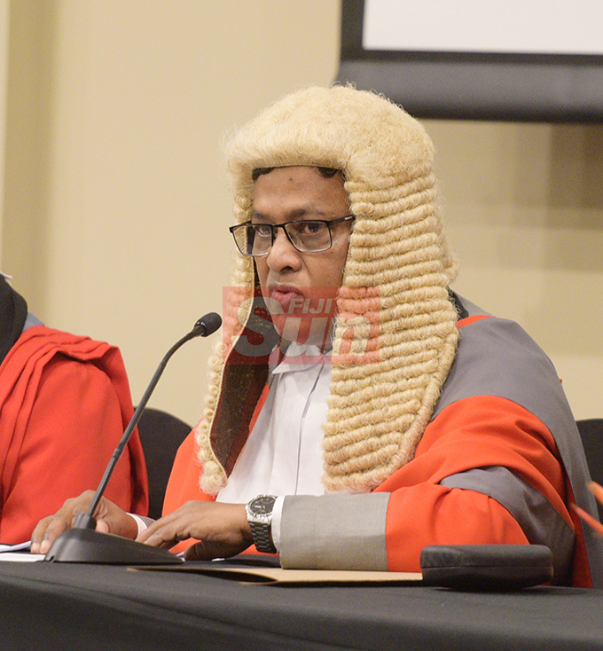 Acting Chief Justice Kamal Kumar during the Admission of fifty one new lawyers to the Bar at Grand Pacific Hotel on August 16, 2019. Photo: Ronald Kumar.