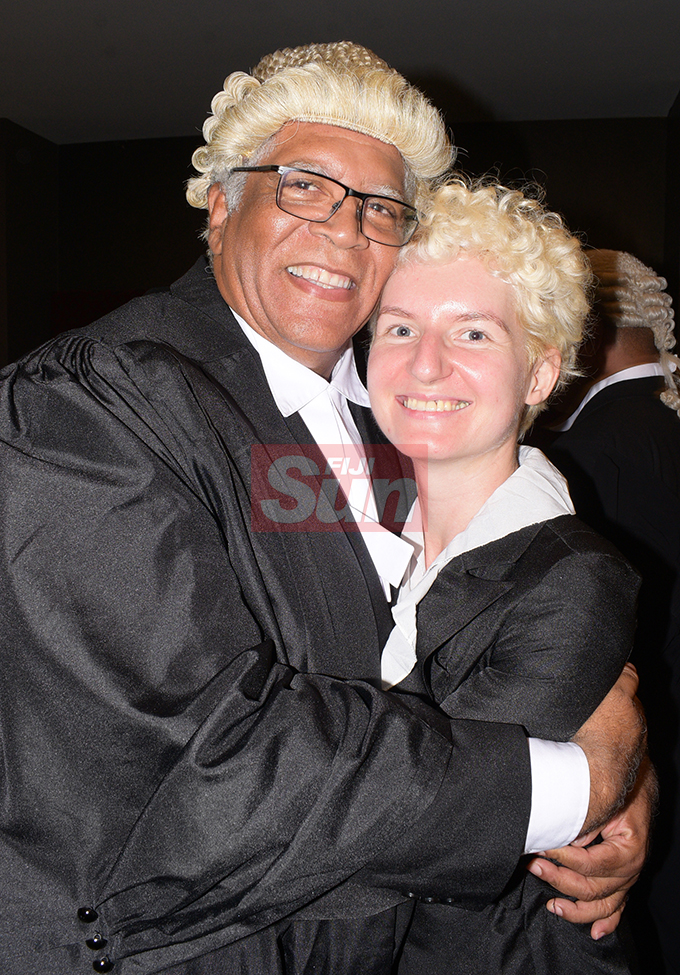 Andre Alexander 68 with wife, Anne Regier following his Admission to the Bar by Acting Chief Justice Kamal Kumar at Grand Pacific Hotel on August 16, 2019. Photo: Ronald Kumar.
