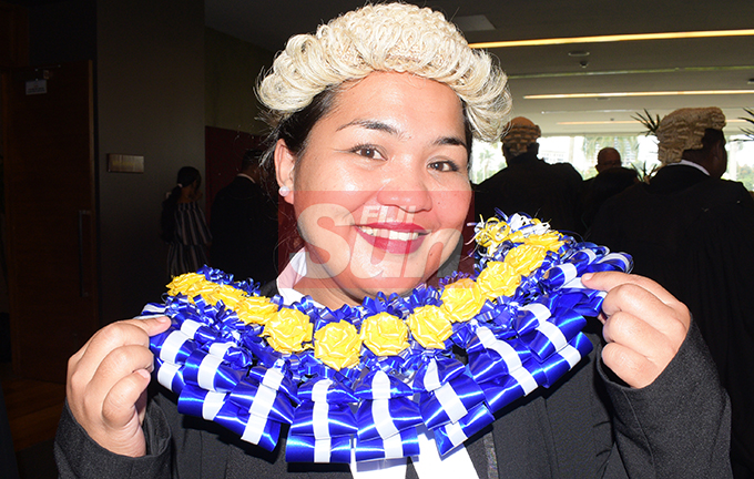 Anastasia Akuborn following her Admission to the Bar by Acting Chief Justice Kamal Kumar at Grand Pacific Hotel on August 16, 2019. Photo: Ronald Kumar.