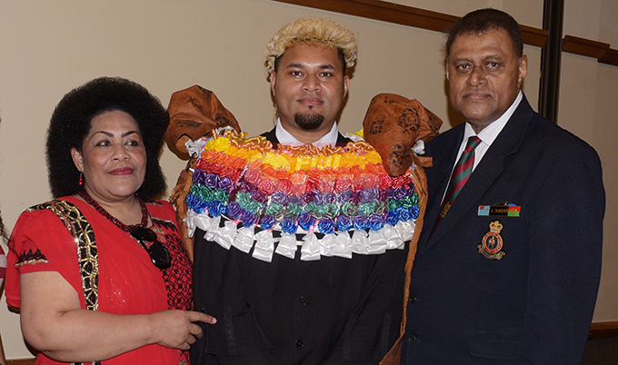 Kula Rauvi (middle) with Parents Jone and Francis Mele Rauvi following his Admission to the Bar by Acting Chief Justice Kamal Kumar at Grand Pacific Hotel on August 16, 2019. Photo: Ronald Kumar.
