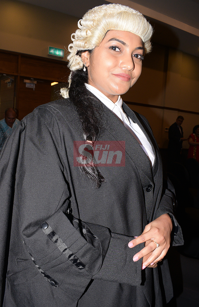 Neha Pratap following her Admission to the Bar by Acting Chief Justice Kamal Kumar at Grand Pacific Hotel on August 16, 2019. Photo: Ronald Kumar.