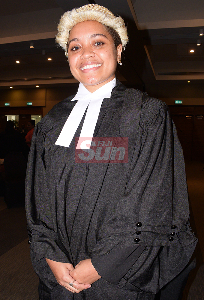 Luisa Tuilau following her Admission to the Bar by Acting Chief Justice Kamal Kumar at Grand Pacific Hotel on August 16, 2019. Photo: Ronald Kumar.
