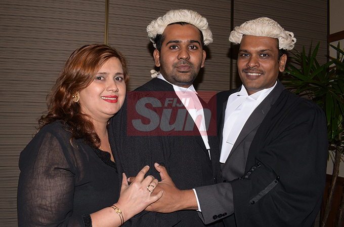 Akshay Chand (middle) with this parents, Shamima an Anil Chand following his Admission to the Bar by Acting Chief Justice Kamal Kumar at Grand Pacific Hotel on August 16, 2019. Photo: Ronald Kumar.