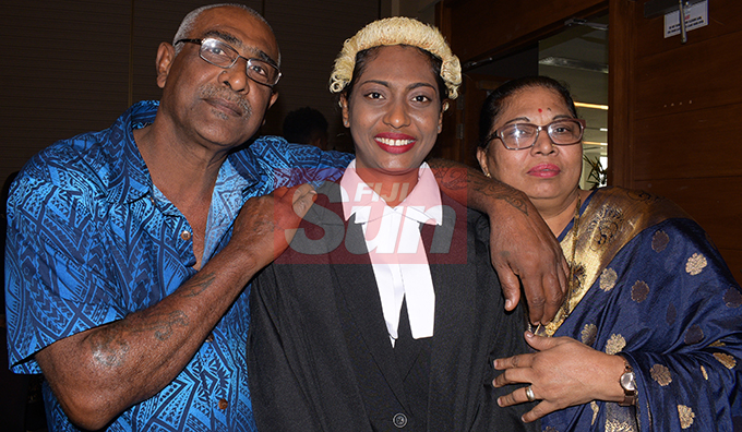 Shivanjali Narayan (middle) with her parents Satya and Subodhini Nand following her Admission to the Bar by Acting Chief Justice Kamal Kumar at Grand Pacific Hotel on August 16, 2019. Photo: Ronald Kumar.