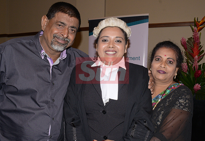 Angline Sumer (middle) with her parents Shalendra and Pravin Kumar following her Admission to the Bar by Acting Chief Justice Kamal Kumar at Grand Pacific Hotel on August 16, 2019. Photo: Ronald Kumar.