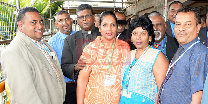 Rev. Pereti Leo (from left) with members of Methodist Church Indian circuit, Rev. Able Anand, Rev. Anil Reuben, Aneeta Reuben, Ruth Prakash, Anand Reuben and Rev. Lal Mohammad during annual conference at Centenary Church on August 22, 2019. Photo: Ronald Kumar.