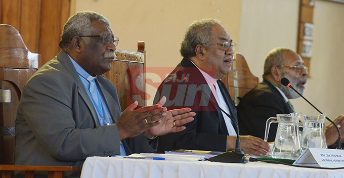 Methodist Church of Fiji and Rotuma General Secretary Rev. Ili Vunisuwai (from left), President Rev. Dr. Epineri Vakadewavosa and Vice President Ratu Peni Volavola  during their annual conference at Centenary Church on August 19, 2019. Photo: Ronald Kumar.