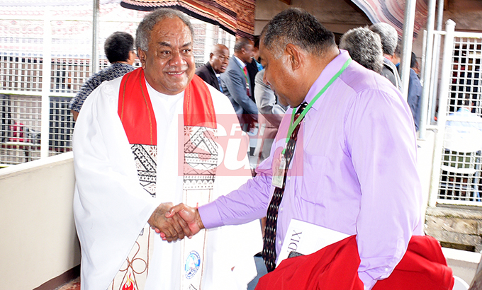 Methodist Church of Fiji and Rotuma President Rev. Dr. Epineri Vakadewavosa (left) with members during their annual conference at Centenary Church on August 19, 2019. Photo: Ronald Kumar.