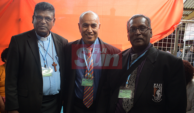 Rev. Anil Reuben (from left) Rev. Abute Aburataea Ketetemane of Rabi and Rev. Dr. Emmanual Reuben during Methodist Church annual conference at Centenary Church on August 19, 2019. Photo: Ronald Kumar.