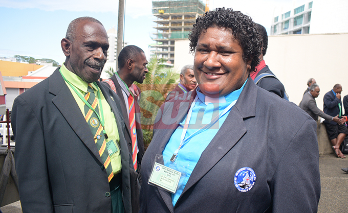 Rusiate Namoro (left) and Rev. Reama Cagniveivoka during Methodist Church annual conference at Centenary Church on August 19, 2019. Photo: Ronald Kumar.