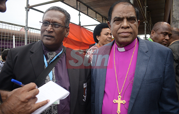 Rev. Dr. Emmanual Reuben (left) with Bishop Namdeo Karkare of Bangalore Methodist Church in India during Methodist Church annual conference at Centenary Church on August 19, 2019. Photo: Ronald Kumar.